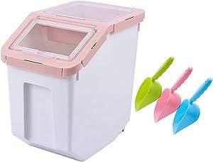 Saim Airtight Food Storage Container,Dry Food Dispenser Storage Tank,Pet Dog Cat Food Bin with Locking Lid, Measuring Cup, Scoop & Wheels, 8-10kg Capacity, Pink, Large