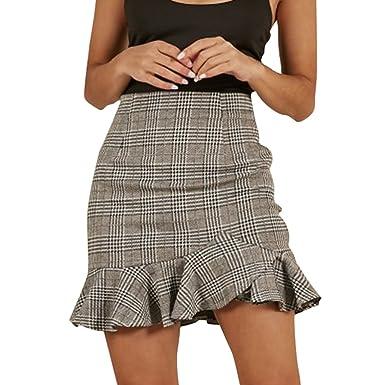 calidad confiable retro bien fuera x WanYangg Mujer Wrap Cuadros De Impresión Cintura Alta Volantes Irregular  Falda Cortas De Moda Faldas Mini