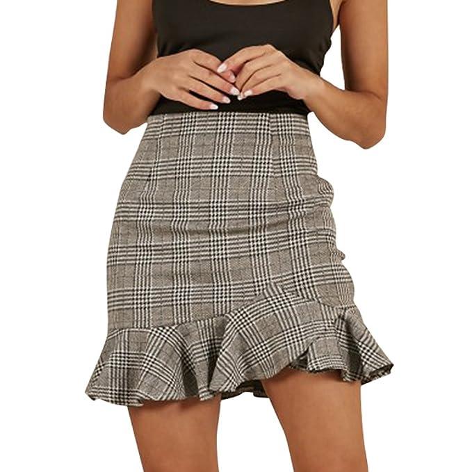 5d5eae76bcd WanYangg Mujer Wrap Cuadros De Impresión Cintura Alta Volantes Irregular  Falda Cortas De Moda Faldas Mini  Amazon.es  Ropa y accesorios