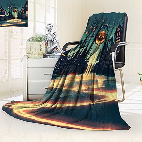 YOYI-HOME Unique Custom Duplex Printed Blanket Fantasy Art House Halloween Theme Night Pumpkin and Haunted House Ghost Town Artful Teal Orange Anti-Static,2 Ply Thick,Hypoallergenic/W47 x H59 -
