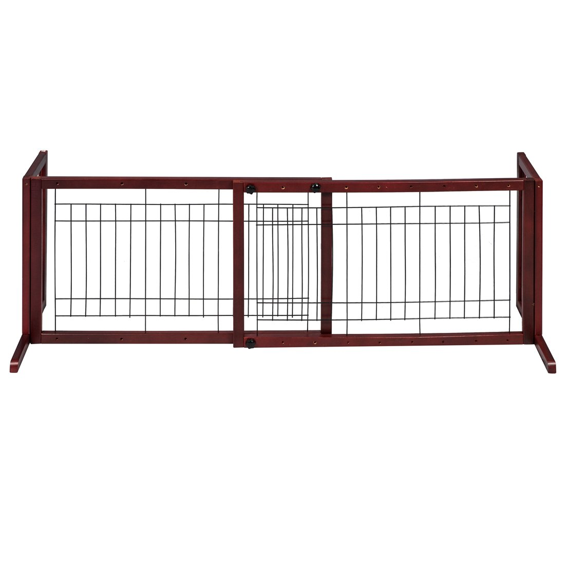GOOD LIFE Wooden Fence Freestanding Pet Dog Gate Indoor Adjustable Gates for Home Coffee Color 72 Inch PET344 by GOOD LIFE USA (Image #4)