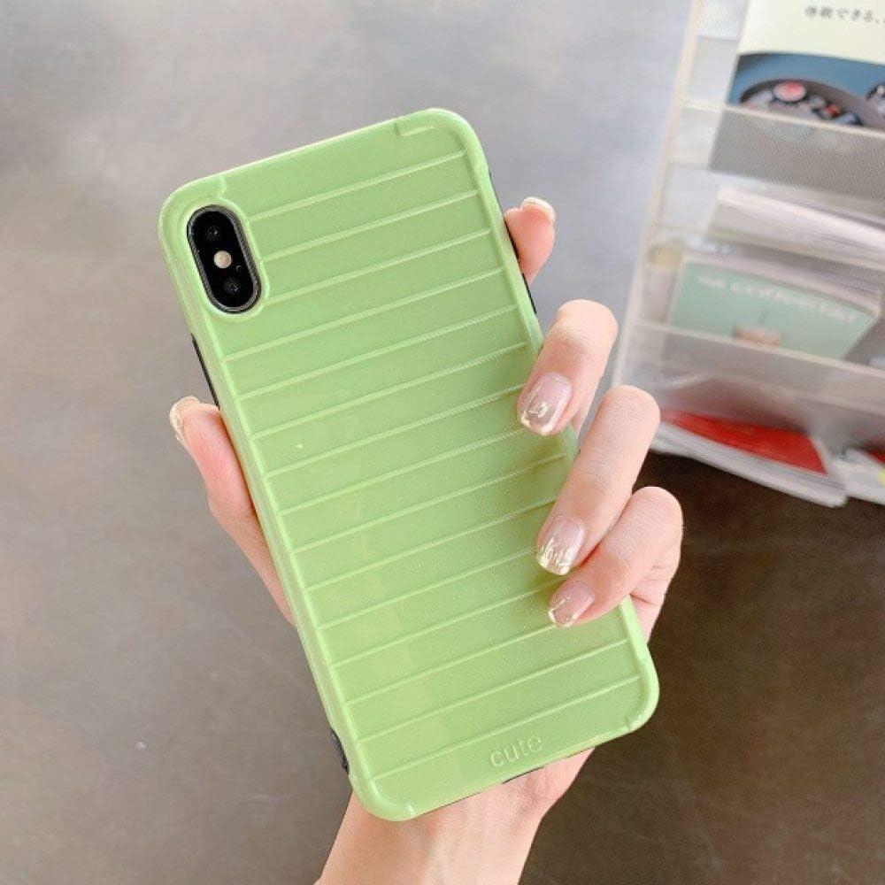 SJBHY Simple Fashion Pure Color Stripe Funda para teléfono móvil para iPhone XS MAX XR Apple 78plus 6s Estuche Imd Suave Proteger contraportada-para iPhone XS MAX-Verde Claro: Amazon.es: Electrónica