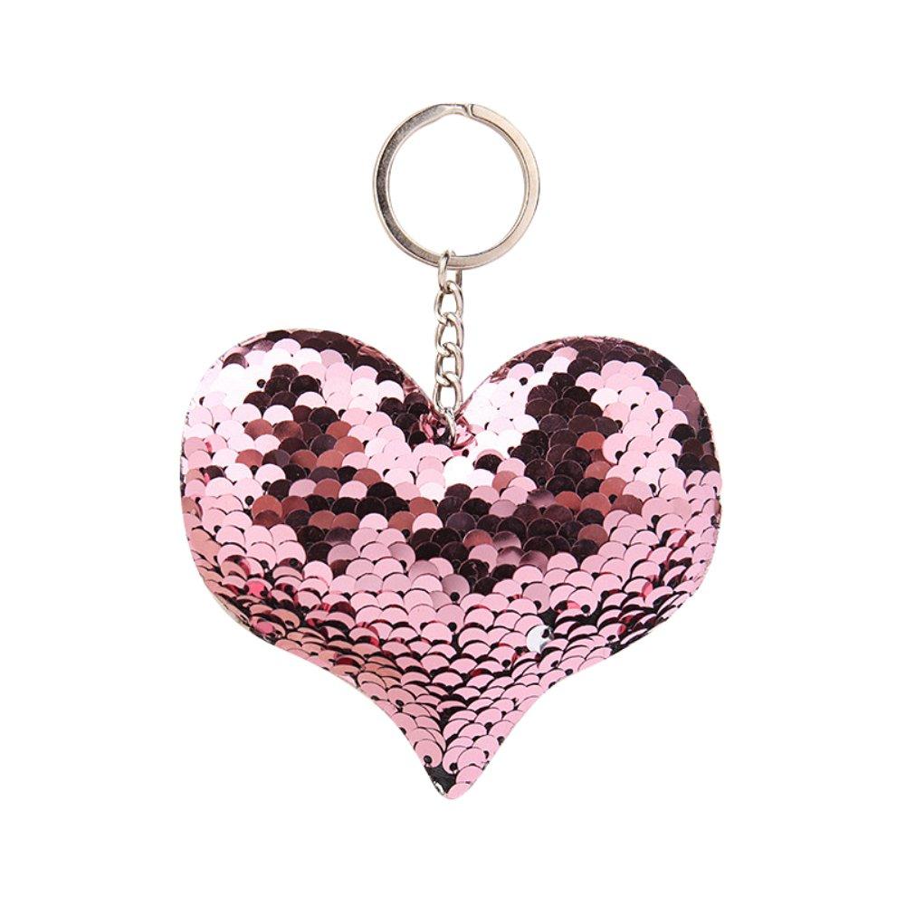 Sequin Plush Keychain Mini Cute Plush Pillows Novelty Sequins Heart Keychain for Girls