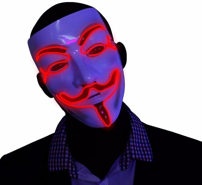 Mascara Roja V por Vendetta que Brilla en la Oscuridad, Guy Fawkes de Anonimus,