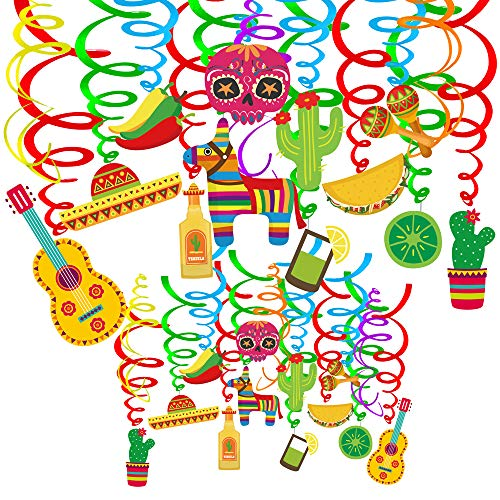Cinco De Mayo Items - Supla 30 pcs Fiesta Hanging Swirl
