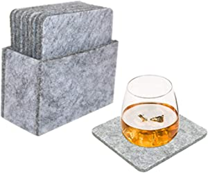 Felt Coasters For Drinks Set Of 10, Coasters For Drinks Absorbent Hexagon Round Square Table Coasters Protect Furniture Premium Package Coasters Perfect Housewarming Gift(Gray,Square)