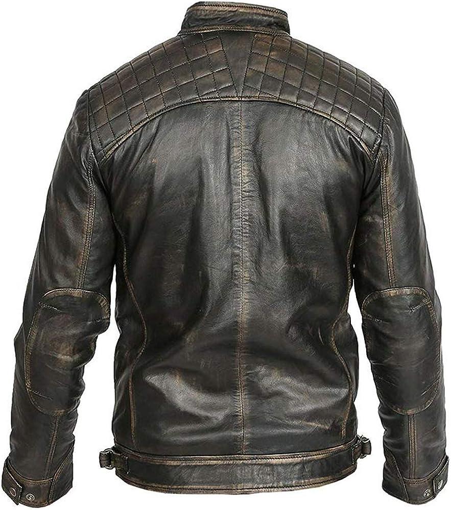 Mens Cafe Racer Biker Vintage Motorcycle Retro Moto Distressed Leather Jacket