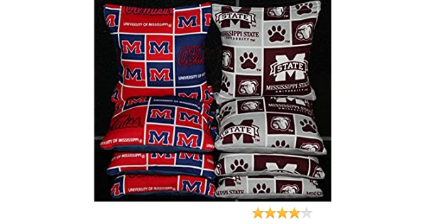 8 All Weather CORNHOLE BEANBAGS made w MISSISSIPPI OLE MISS Fabric ACA Reg Bags