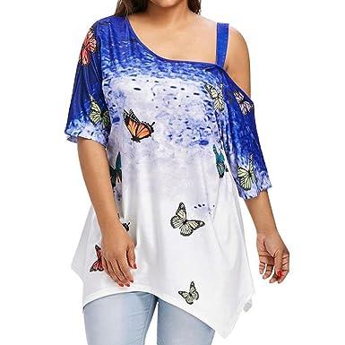d8ac578a276b Frauen Große Größe Kleidung Kurzarm Oberteile Tank Top Damen Leibchen  Sommer Tops Bluse Schmetterling Drucken Shirt