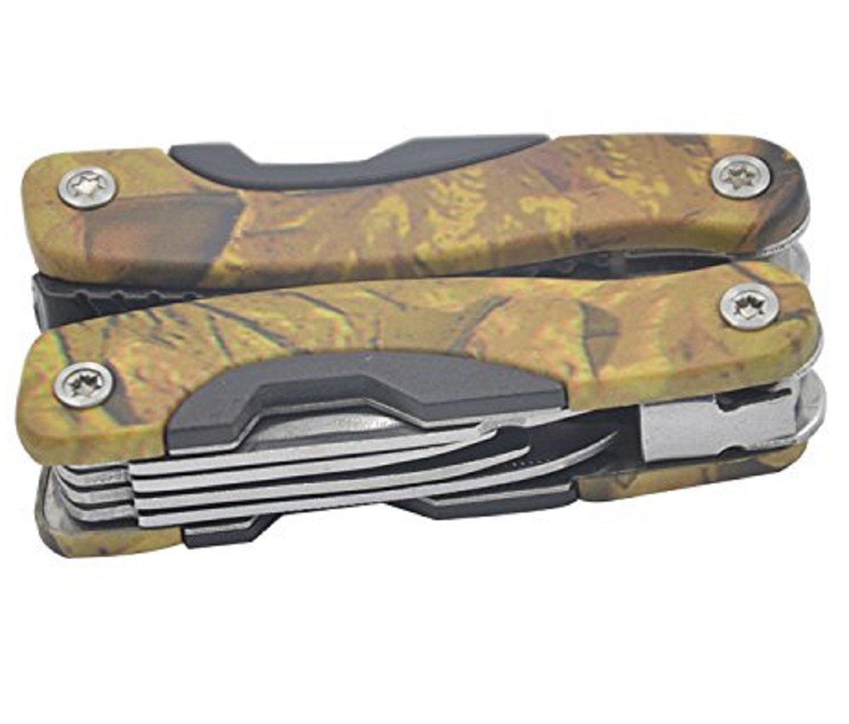 Vococal Acero inoxidable Pocket alicates plegable multifunció n militar supervivencia al aire libre herramienta camuflaje