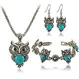 OrliverHL 3 Pcs Set Retro Turquoise Owl Bracelet Earrings Necklace Jewelry Set,Blue