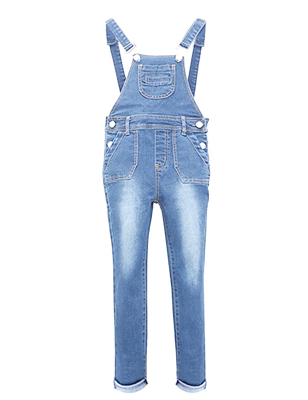 YJ.GWL Girls Denim Overalls(Light Blue,160)