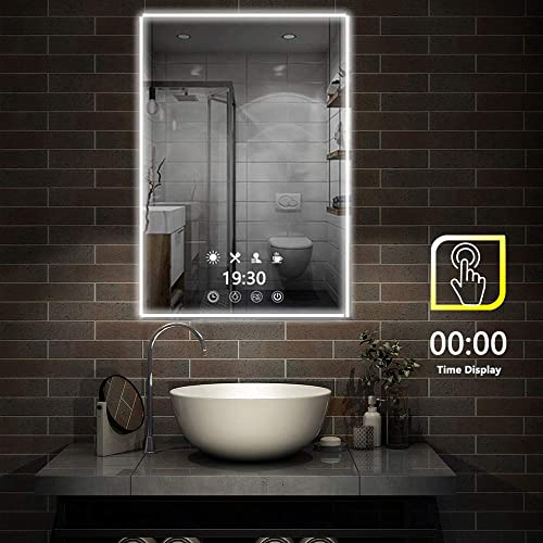 FeelGlad Time Display LED Lighted Bathroom Mirror – 32 x 24 inch Wall Mounted Mirror with Scene Lighting Simulations, Touch Switch, Color Temperature Changing, Hanging Vertically