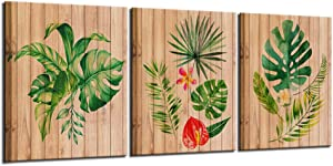 Nachic Wall- Leaf Wall Decorations for Living Room Tropical Palm Leaves Pictures on Vintage Wood Canvas Paintings Bedroom Decor Green Botanical Prints Plant Simple Life Minimalist Art Gallery Wrap