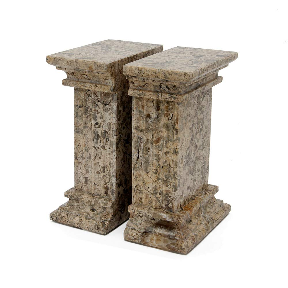 MarbleCrafter Fossil Stone Fluted Column Bookends by MarbleCrafter