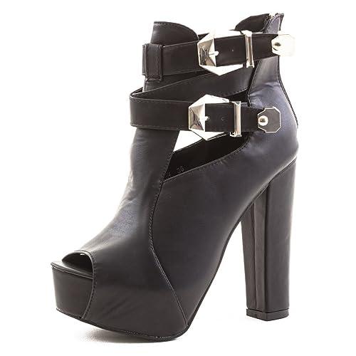 24eb486b0de5ab Marimo Damen Schnür Plateau High Heels Ankle Boots Schuhe Stiefeletten Cut  Out in Hochwertiger Lederoptik Schwarz
