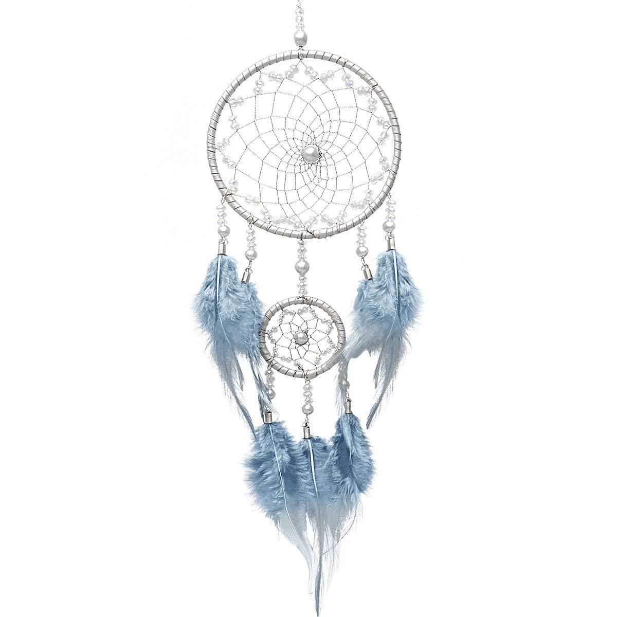 Small Handmade Native Dreamcatcher 2 Rings Traditional Indian Dream Catcher Leather Feathers Mobile Ornament Decoration Home Car Wall Decor Hanging Craft Gifts for Boys Girls Kids – Blue Sliver IMMIGOO