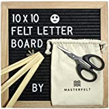 Felt Letter Board (Black) 10x10 inches - Oak Frame Letter Board with Wood Stand, 360 White Changeable Letters, Numbers, Symbols and Emojis, Canvas Bag, Scissors & Wall Hanger - Great for Decoration