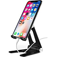 Adjustable Cell Phone Stand, IOQSOF Desk Phone Holder, Large Size [Upgraded Solid] Dual Angle Phone Charging Dock for…