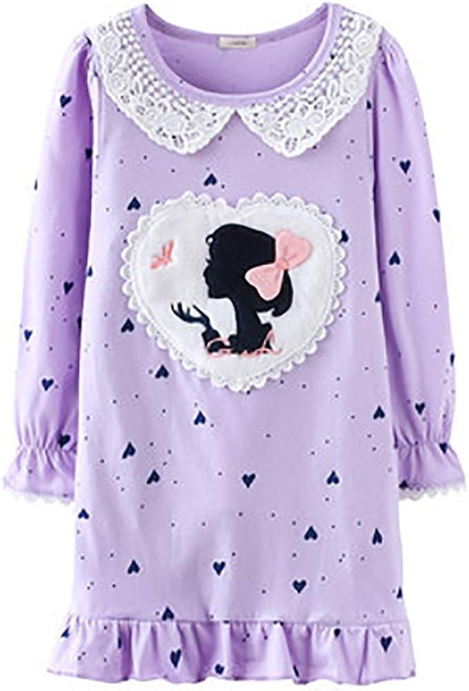 Abalaco Girls Kids Princess Cartoon Dot Lace Nightgown Long Cotton Sleepwear Pretty Home Dress