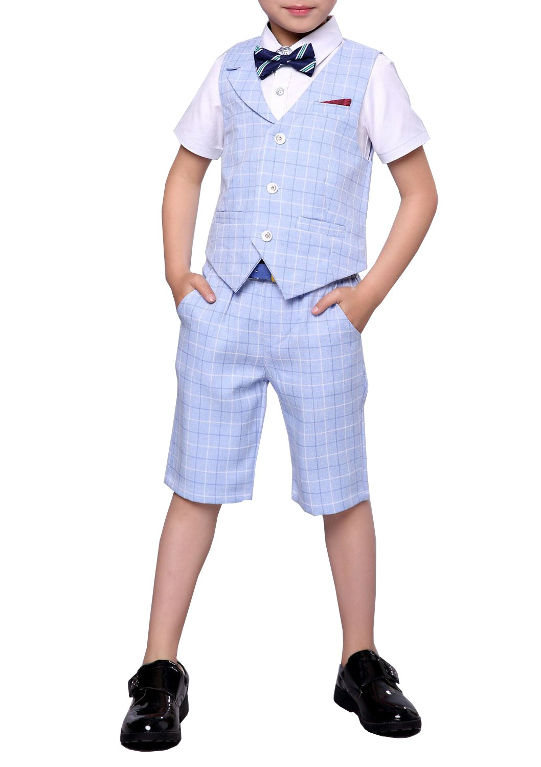 Boys Summer Suit Set 3 Pieces Shirt Vest and Shorts Set Blue Gray and Pink (12, Blue)