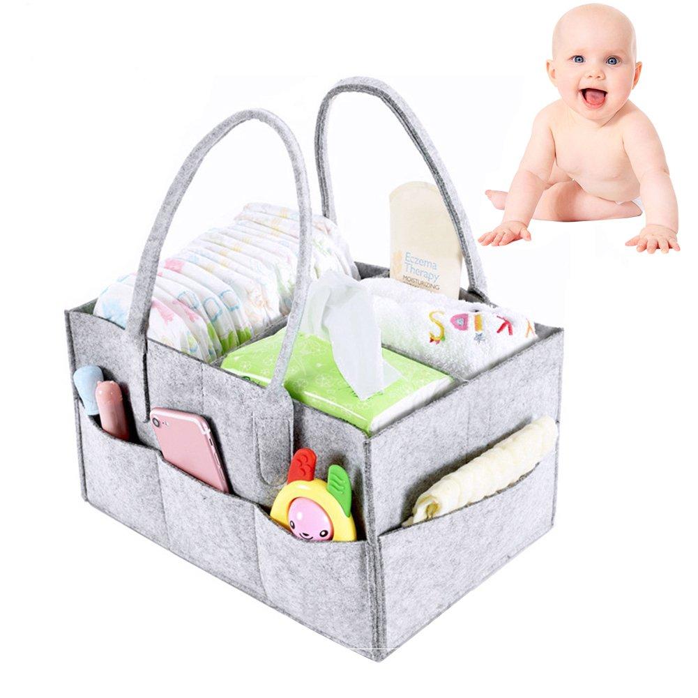 Baby-Tasche, groß, mit Tragetasche, für Auto, Kinderzimmer, Windel-Caddy, Filz, Grau, für Jungen und Mädchen, niedlich, für Kinder, mit Must-Have groß für Auto für Kinder CARYAN