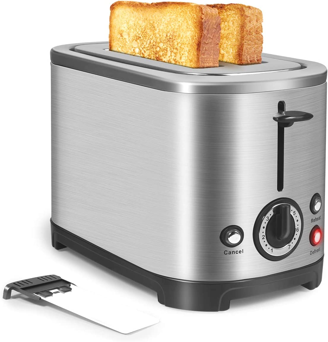 Toaster 2 Slice Wide Slot, Stainless Steel Toaster with 7Shade Settings/Cancel/Bagel/Defrost/Reheat Function, Removal Crumb Tray, Small Toasters