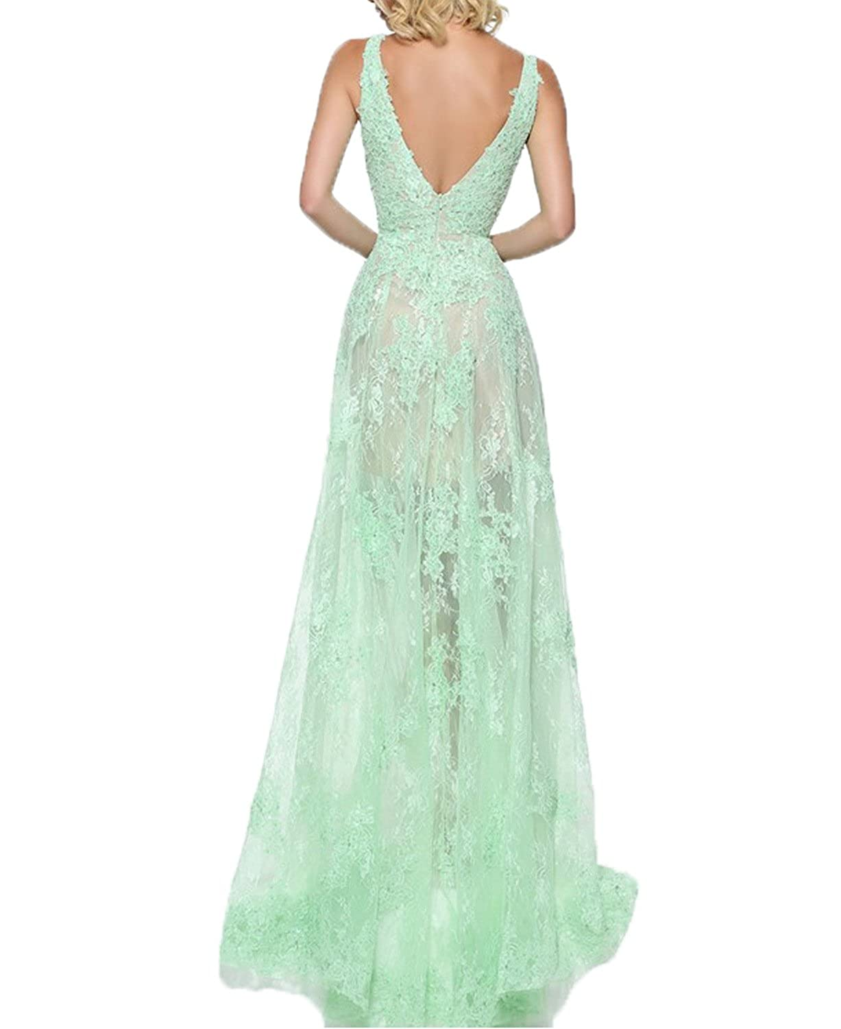 BONBETE Womens V Neck High Low Mint Green Sexy Lace Prom Dress Long Party Evening Dress at Amazon Womens Clothing store: