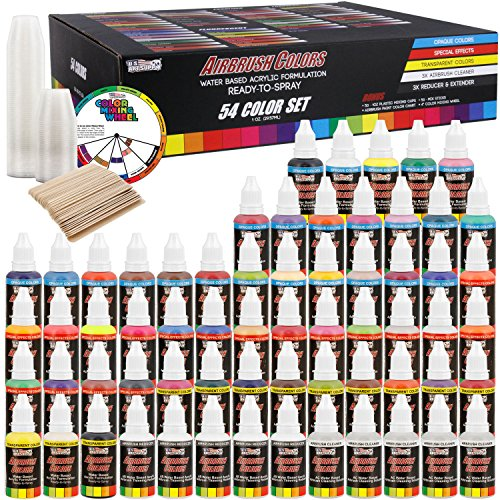 U.S. Art Supply 54 Color Ultimate Acrylic Airbrush, Leather & Shoe Paint Set with Cleaner, Thinner, 50-Plastic Mixing Cups, 50-Wooden Mix Sticks and a Color Mixing Wheel by US Art Supply