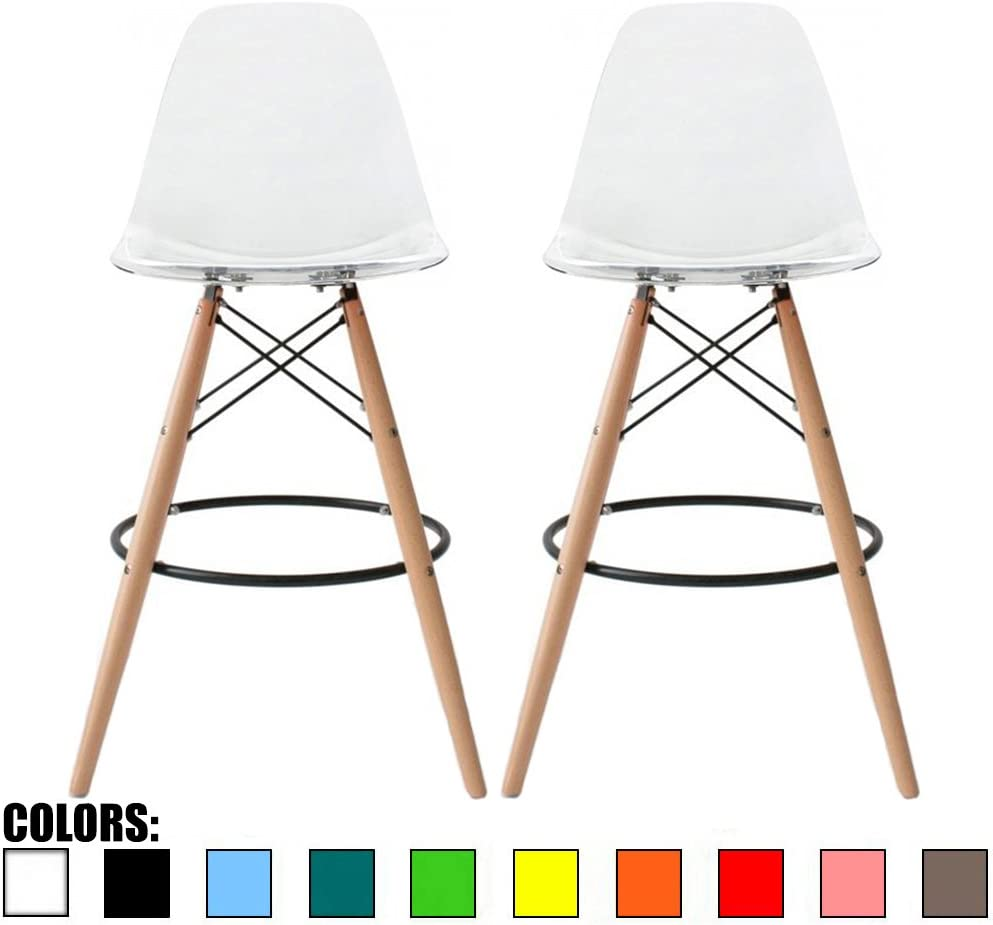 2xhome Set of 2 Clear 28 Contemporary Modern Molded Shell Acrylic Plastic Eiffel Dowel Counter Height Chairs Chair with Back Side Armless for Kitchen Commercial Home Outdoor Garden Patio Ghost DSW
