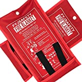 Emergency survival Fiberglass Fire Blanket Shelter Safety Cover ideal for the kitchen, fireplace, grill, car, camping (2Pack 39x39 in)