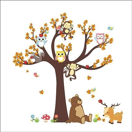 Fymural Cartoon Kid Bedroom Decor Forest Animal Monkey Owls Hedgehog Tree Wall Sticker Baby Swing Nursery Murals Decals Diy Vinyl Removable Wall Art