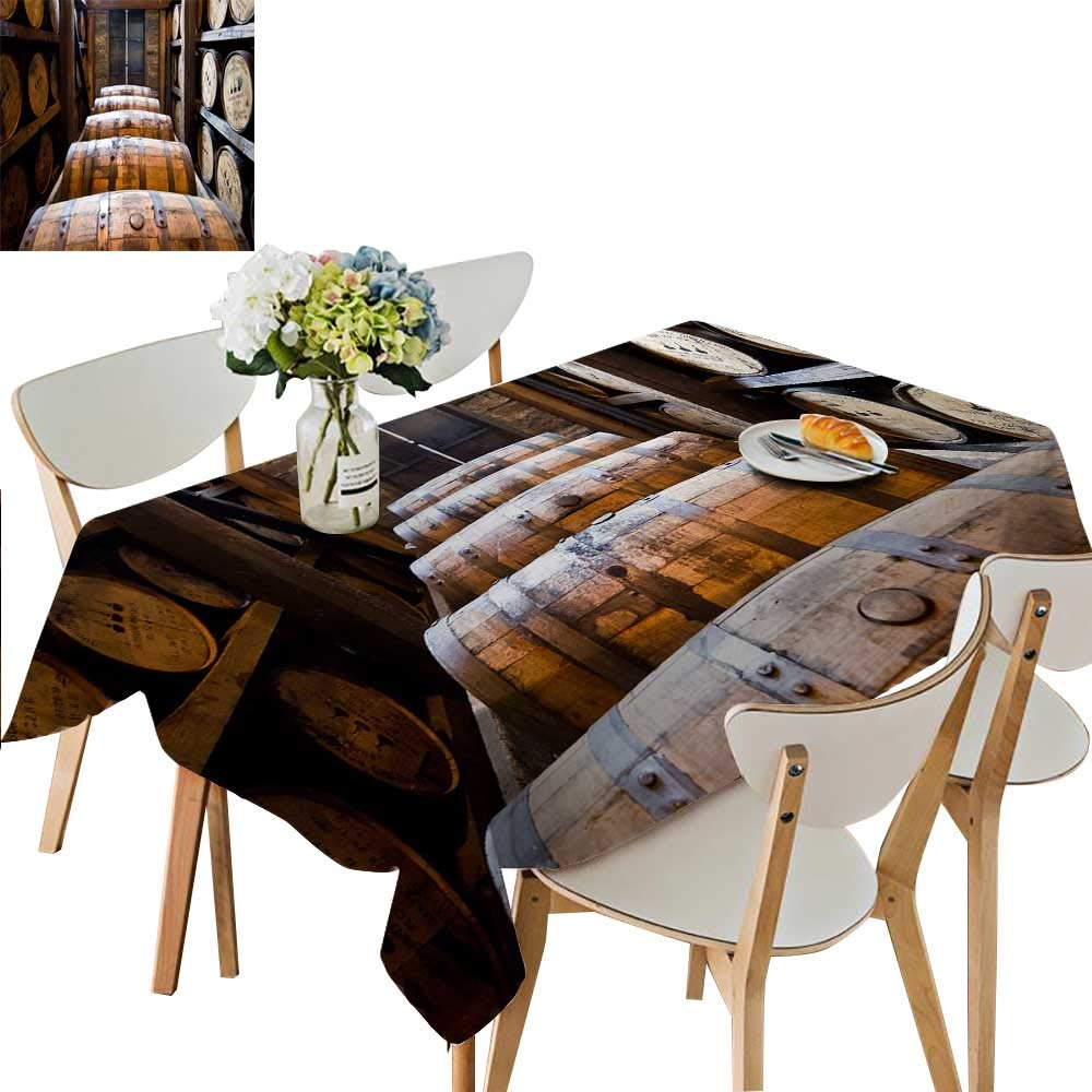 UHOO2018 Spillproof Fabric Tablecloth Oak Barrels Made by Bourbon Whisky Square/Rectangle Washable Polyester,50 x 72inch