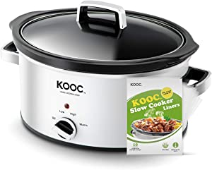 [NEW LAUNCH] KOOC Slow Cooker, 5-Quart, Larger than 4 Quart, Free Liners Included for Easy Clean-up, Upgraded Crock Pot, Adjustable Temp, Nutrient Loss Reduction, Stainless Steel, White, Oval