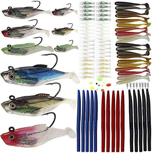 Fishing Lures - 102Pcs/Set Fishing Lures Kit Soft Baits Tackle Plastic Worms Shrimp Spring Twist Lock Fishing Beads Saltwater Freshwater Lures