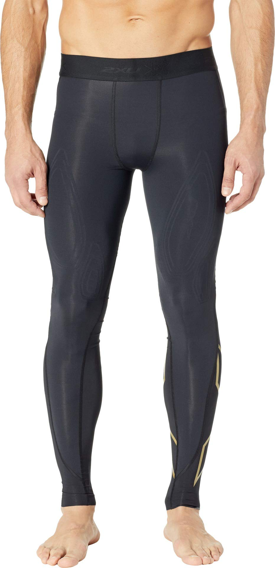 2XU Men's MCS Cross Training Compression Tights Black/Gold XX-Large R by 2XU (Image #1)