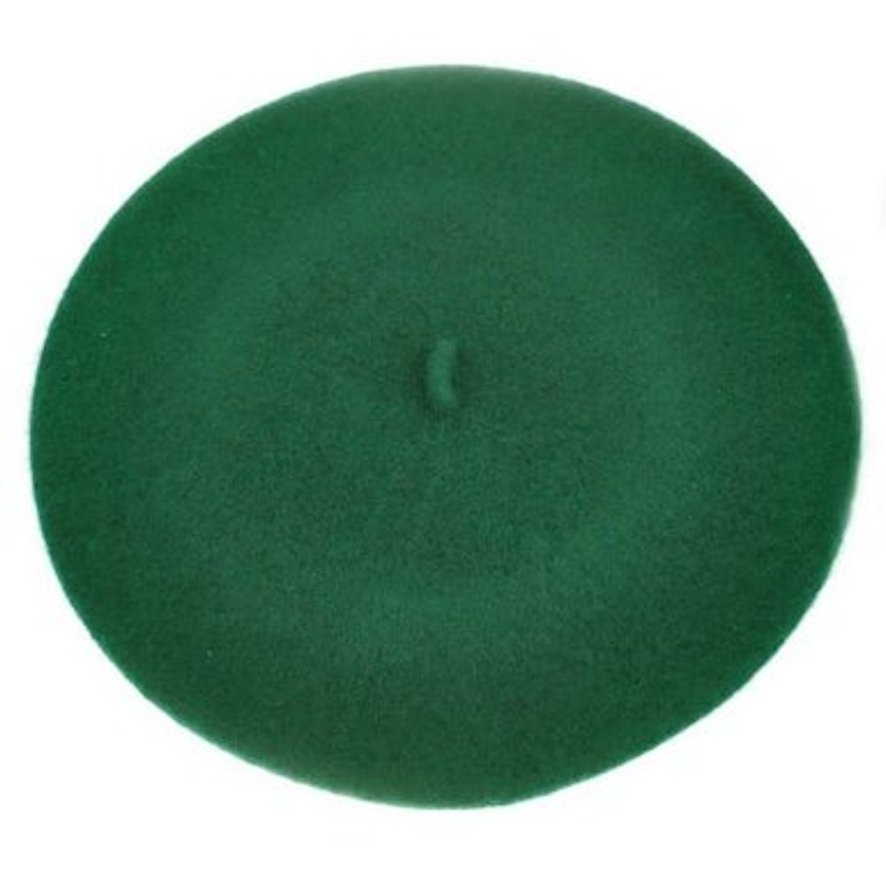 French style beret hat 100% wool (Dark Green)