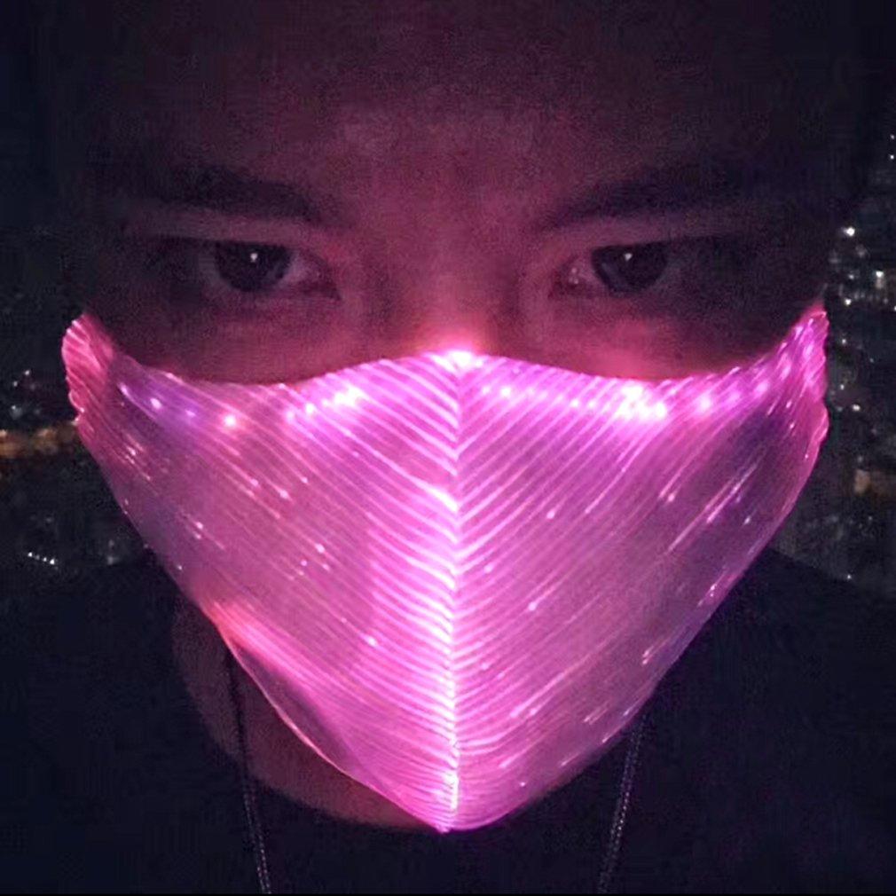 SAFEBAO LED Dust Mask 7 Colors Luminous Light for Men Women Rave Mask Music Party Christmas Halloween Light Up Mask (White)