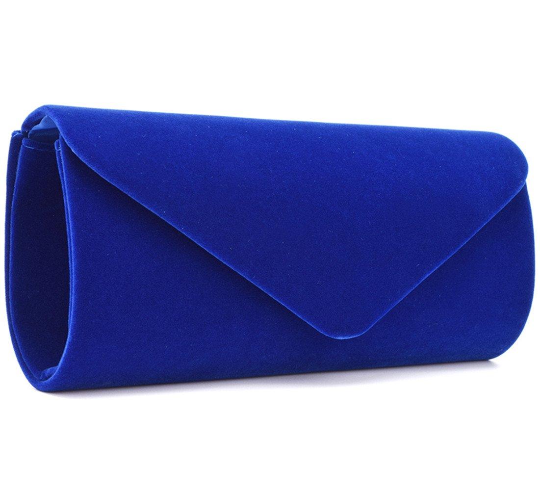 U-Story Women's Evening Wedding Party Velvet Envelope Clutch Bag Tote Purse Handbag (Blue)