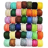CurtzyTM 42 Colourful Crochet Cotton Thread Reels, Balls, Skeins- 47.5 Yards Each
