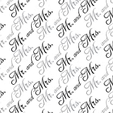 Mr. and Mrs. Wedding Black and White Premium Gift Wrap Wrapping Paper Roll