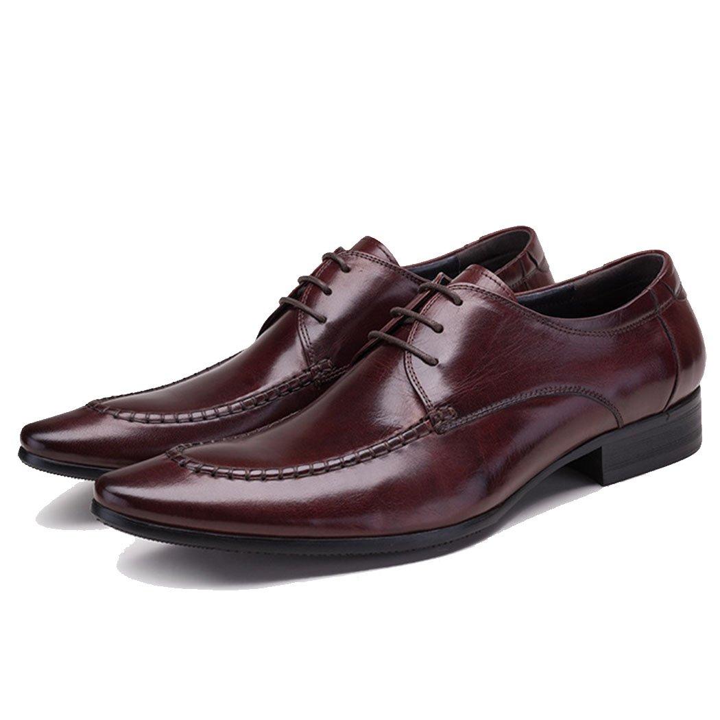 GAOLIXIA Herren Echtes Leder Formale Schuhe Klassische Geschäft Arbeitsschuhe Mode Freizeitschuhe Formale Hochzeit Kleid Schuhe Schwarz Burgund Große Größe