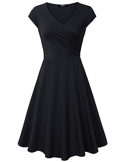 Lotusmile Casual Dress Womens Elegant Dress A Line Cap Sleeve V