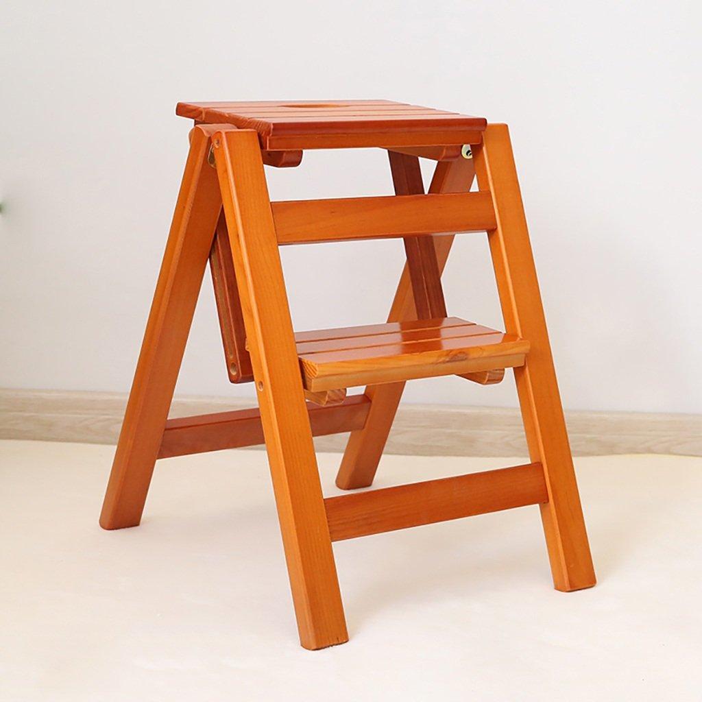 ステップスツールソリッドウッドフラワースタンド家庭用はしご折りたたみラダーシェルフ木製はしごラダー多機能屋内家庭用小型はしごの昇順 (色 : A) B07G9DJPDR A