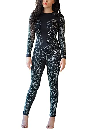 705c8f8658fe Amazon.com  Women Elegant Sequin Rhinestone Jumpsuit Long Sleeve ...