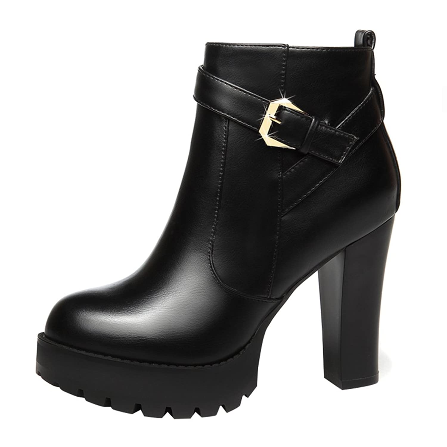 T&Mates Womens Warm Comfy Faux Fur Round Toe Zip Buckle Strap Platform Chunky High Heel Ankle Booties