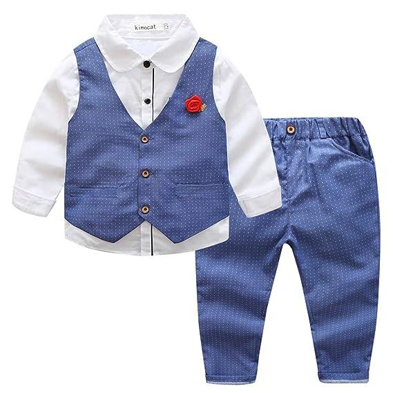 Kimocat Set de 4 pièces Combinaison Costume Bleu Enfant Garçon  Chemise+Gilet+Pantalons+ cd945c8a57f