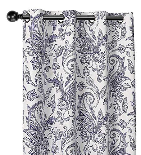 (GoodGram 2 Pack 100% Blackout Insulated Thermal Grommet Top Paisley Designer Energy Saving Curtain Panels - Assorted Colors (Dark Purple Paisley))