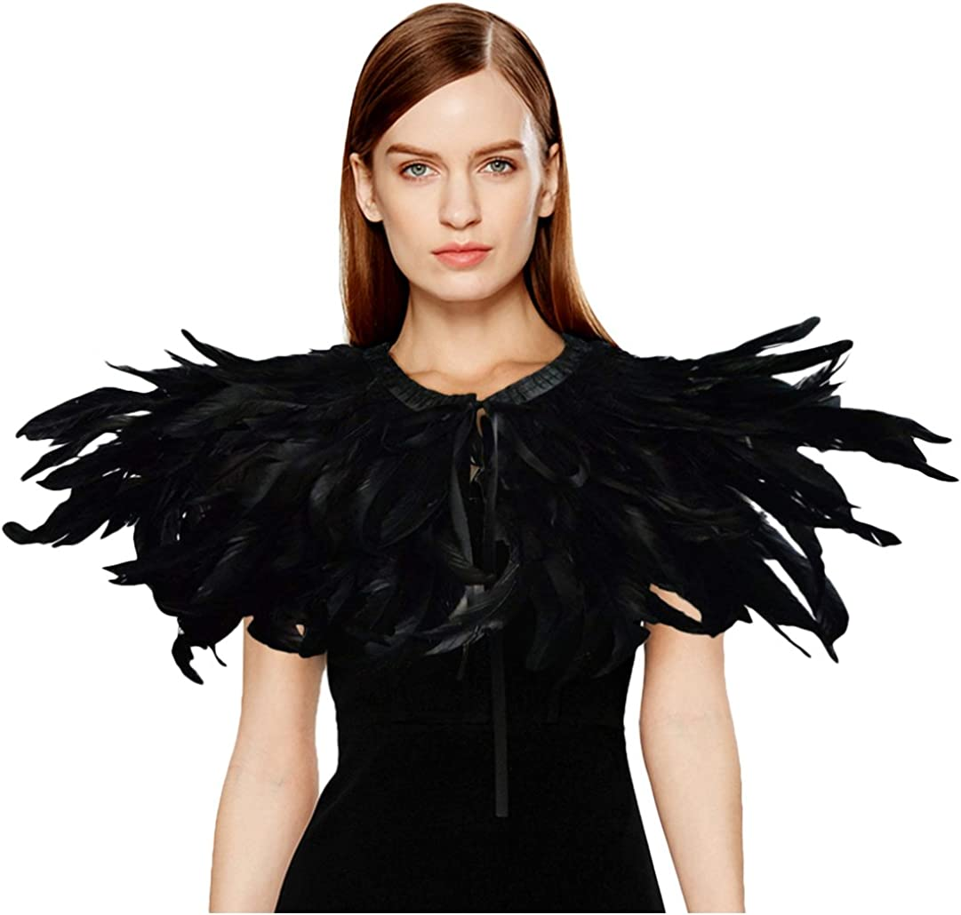 L'VOW Black Feather Shrug Cape Shawl Collar Halloween Costumes for Women (Black-004): Clothing