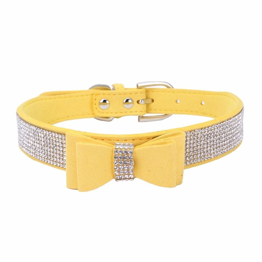 Sunward Dog Collar, Diamond Bow Tie Crystal Rhinestone Pet Collar Designer Girl Boy Dog Collars (Yellow, XXS)